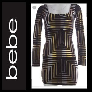 Bebe Long Sleeve Black Gold Silver Dress  Bodycon
